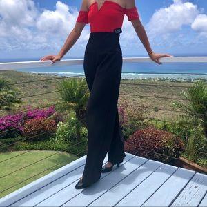 Escada High Waist Wide-leg red Pinstripe pants